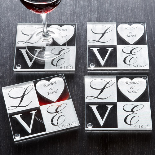 """Personalized """"Love"""" Coasters with Date, Set of 4"""