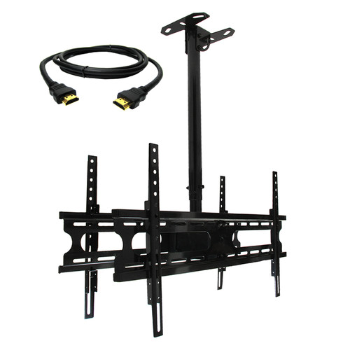 MegaMounts Tilt and Swivel Ceiling Mount for two 37-70 in. Displays with HDMI Cable