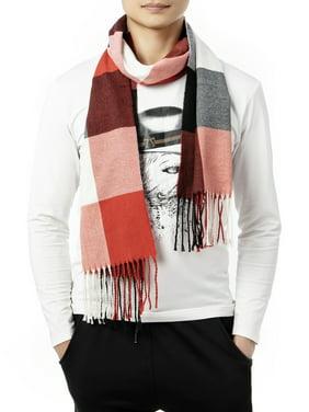 LELINTA Men Women Plaid Scarves Winter Plaid Scarf Tassel Edge Soft Warm Scarf