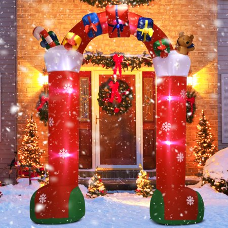 Gymax 10FT Inflatable Christmas Stocking Arch w/ Gift Boxes Lighted Christmas Decor