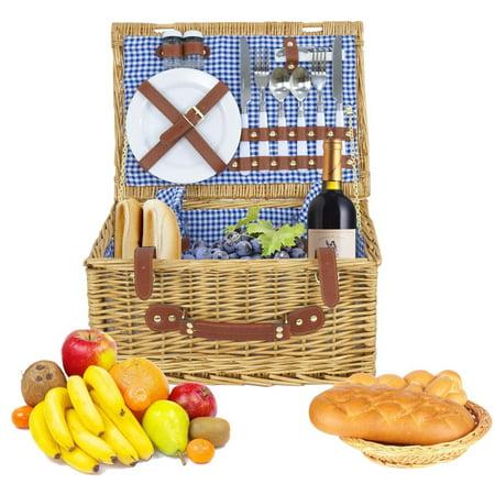Zeny 2 Person Wicker Picnic Basket W  Cutlery  Plates  Glasses  Tableware   Blanket