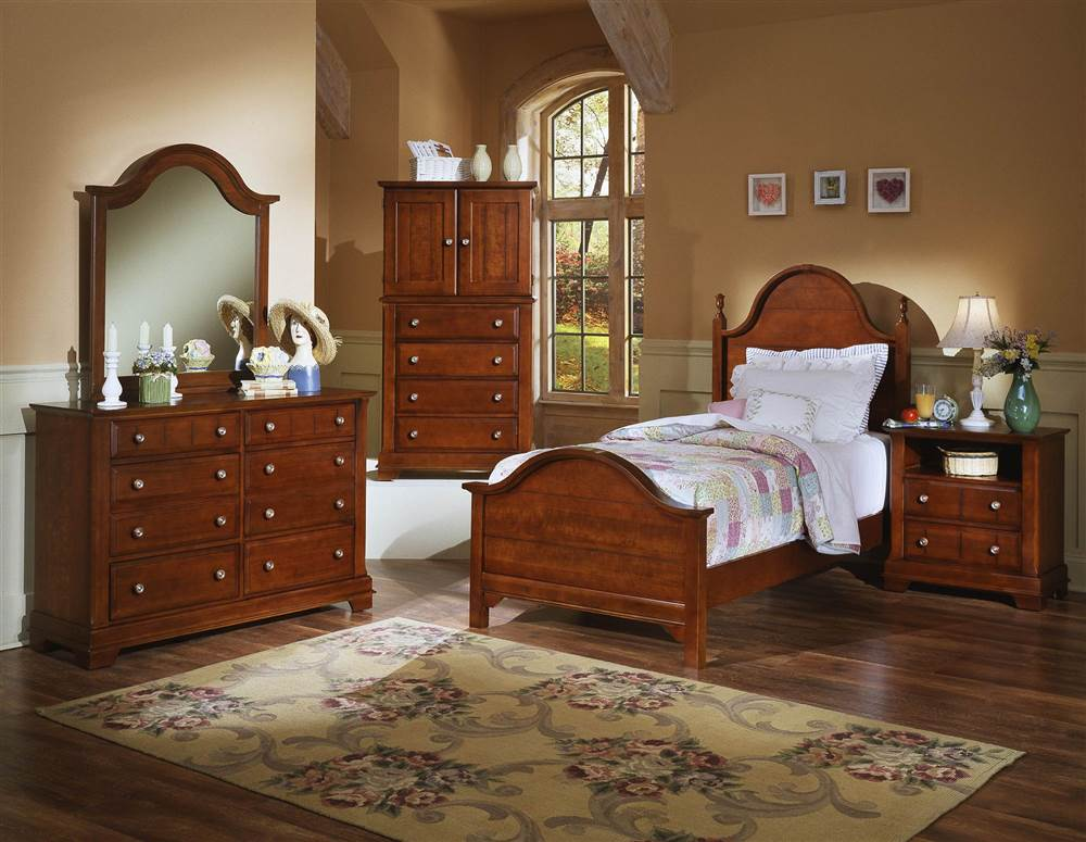 5 Pc Youth Panel Bedroom Set in Cherry Finish (Twin)