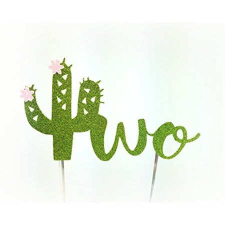 Handmade Succulent Birthday Cake Topper Decoration - two with cactus flowers - Made in USA with Double Sided Gold Glitter Stock (Two with flowers)](Usa Decorations)