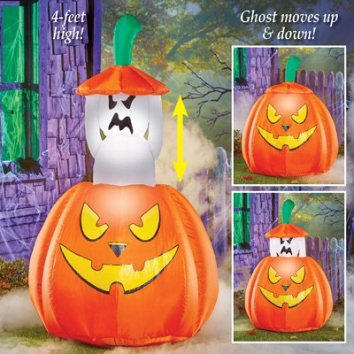 Collections Etc 4 Foot Inflatable Animated Ghost Halloween Decoration, Lighted, Lawn Yard Garden Outdoor Décor