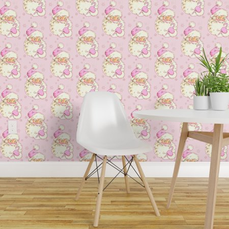 Removable Water-Activated Wallpaper Pink Santa Vintage Holiday Kitsch Christmas ()