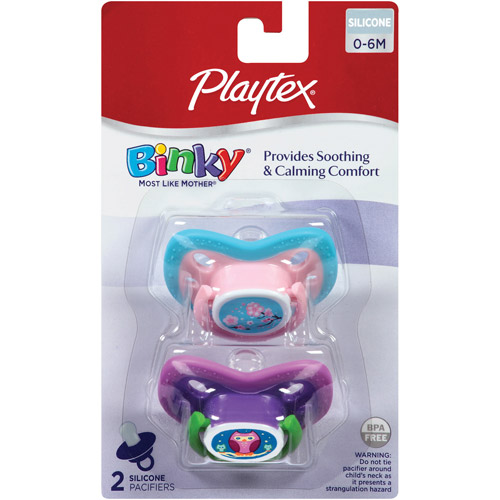Playtex Binky Pacifier, Newborn (0-6), 2-Pack, BPA-Free (Design May Vary)