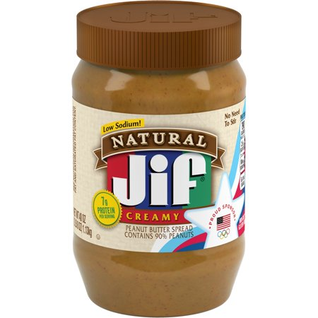 Jif Natural Creamy Peanut Butter Spread, 40-Ounce