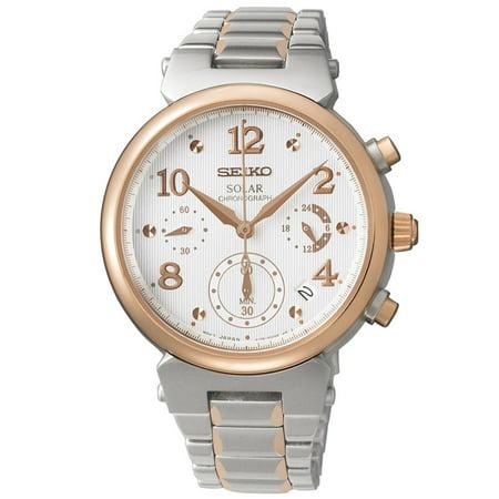Seiko SSC862 Women's Core Solar White Textured Dial Two Tone Steel Chronograph Watch