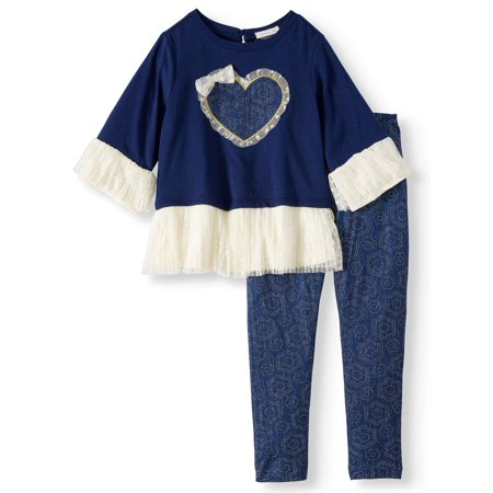 Little Girls' Lace Peplum Bell Sleeve Top and Legging, 2-Piece Outfit Set - Little Girl Clothing