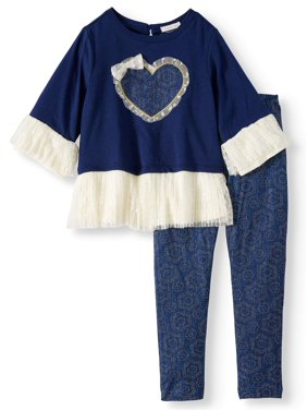 1ef50b5177d44 Product Image Little Girls  Lace Peplum Bell Sleeve Top and Legging