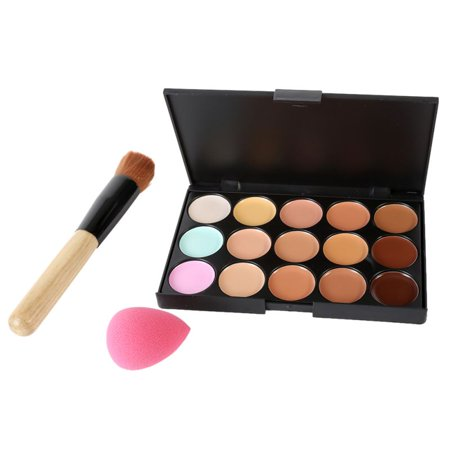 Big Saving/Clearance,15 Colors Face Concealer Contour Palette +Makeup Brush - Halloween Face Makeup Ideas Easy