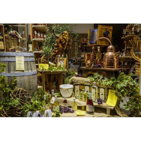 Italy, Veneto, Lake Garda, Malcesine, Old Town, Olive Oil Shop, Shop-Window Print Wall Art By Udo -