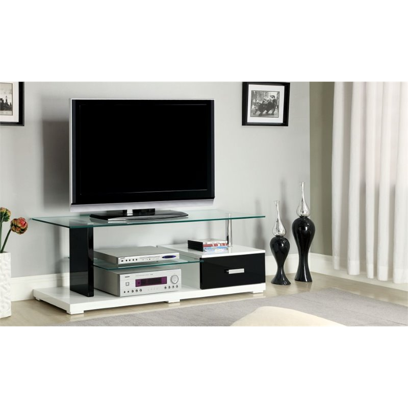"Bowery Hill 55.13"" Glass Top TV Stand in White"