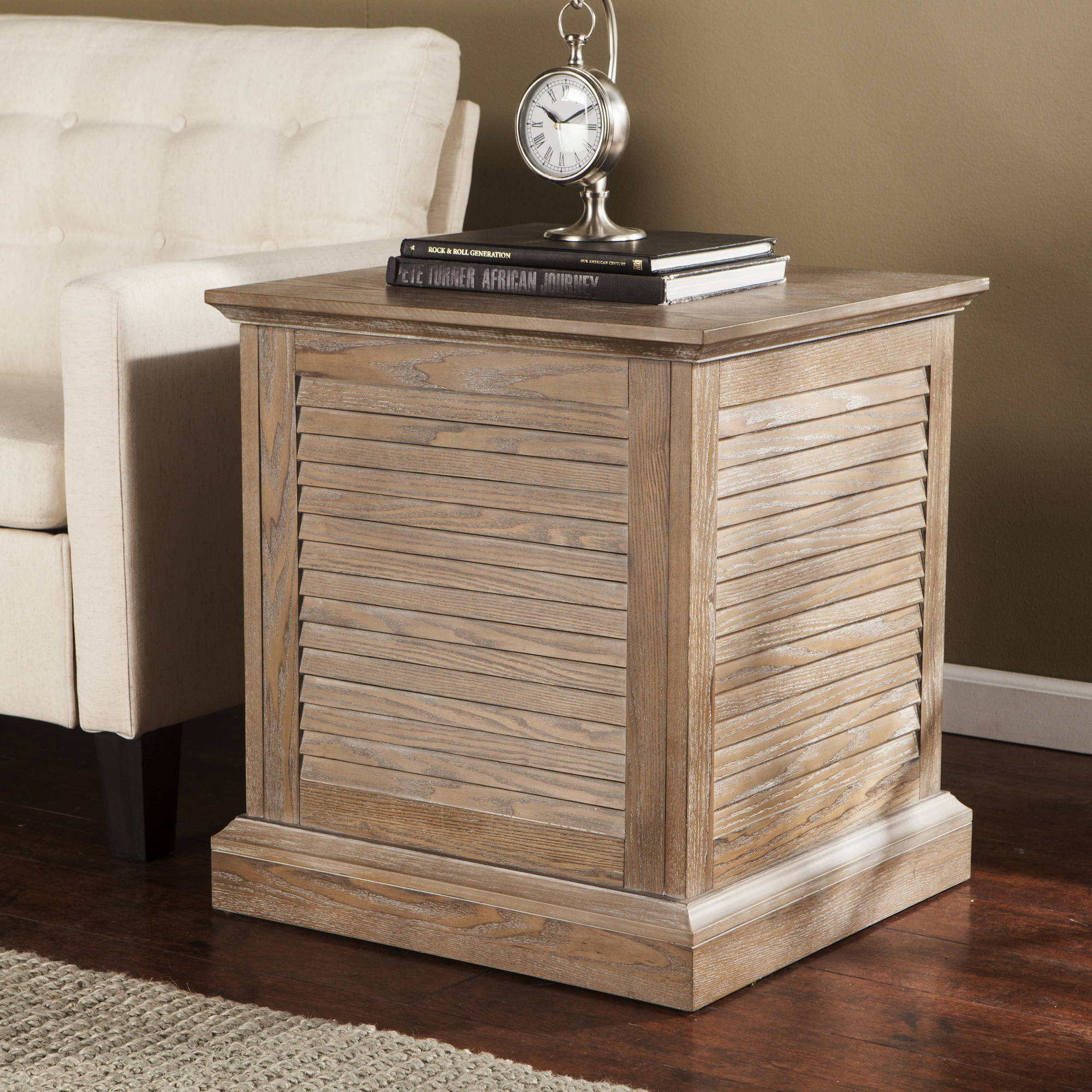 Southern Enterprises Artell Louvered Trunk End Table, Burnt Oak