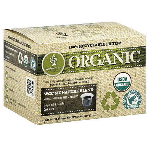 White Coffee Organic WCC Signature Blend Dark Roast Coffee, 0.35 oz, 10 count (Pack of 4)