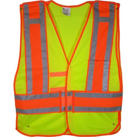 Lime Class II MESH First Responder Safety Vest with Orange/Silver Stripes and 5 point tearaway, Size 4X+