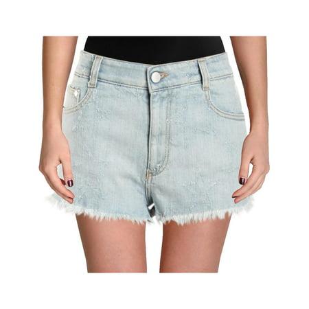 Stella McCartney Womens Distressed Light Wash Cutoff Shorts Blue (Adidas By Stella Mccartney Mini Track Shorts)