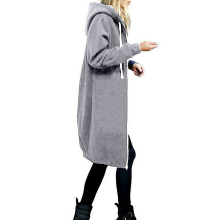 Hooded Women Plus Size Jacket Zip Up Hoodies Sweatshirt Winter Coat Long Tops Outwear Oversized Pocket Loose Overcoat (Guess Zip Up Jacket)