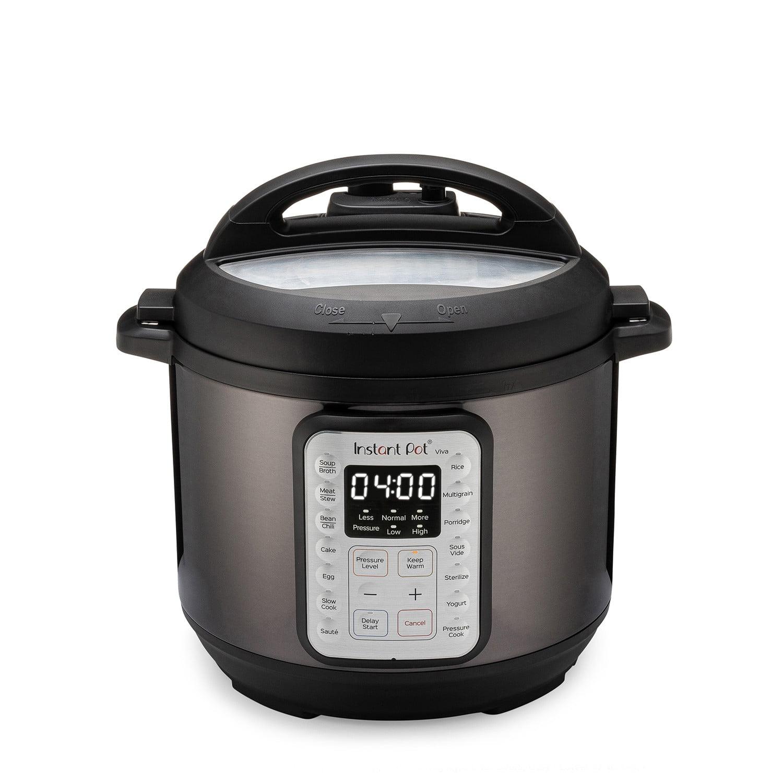 Instant Pot VIVA Black Stainless 6-Quart 9-in-1 Multi-Use Programmable Pressure Cooker, Slow Cooker, Rice Cooker, Yogurt Maker, Cake Maker, Egg Cooker, Sauté, with Sous Vide and Sterilizer - Walmart...