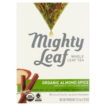 Mighty Leaf Whole Spice amande bio feuilles de thé 15 Pyramid Pouches, 1,32 oz Pack 6