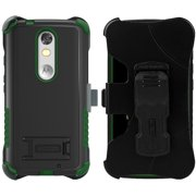 GREEN TRI-SHIELD RUGGED CASE BELT CLIP HOLSTER STAND FOR MOTOROLA DROID TURBO 2