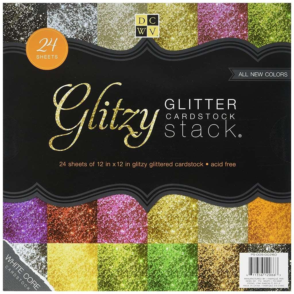 Cardstock Glitzy Glitter Stack 12X12 24 Sheets White Core