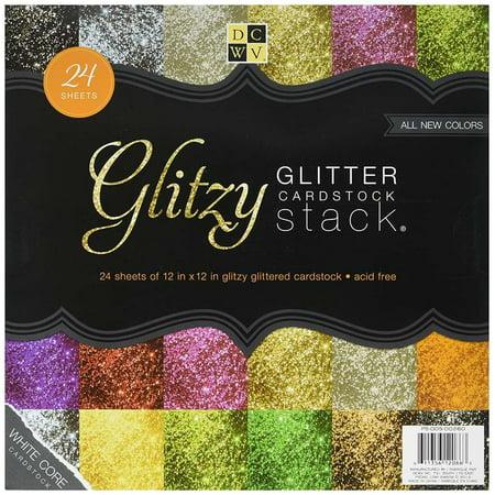 - Cardstock Glitzy Glitter Stack 12X12 24 Sheets White Core