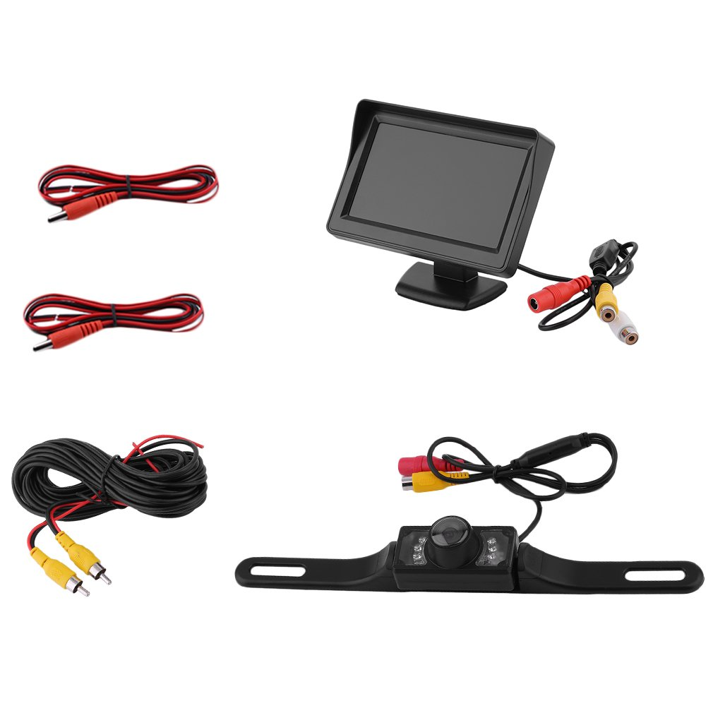 "4.3"" LCD Monitor with Rear View LED Back Up License Plate Camera For Vehicle Cars"