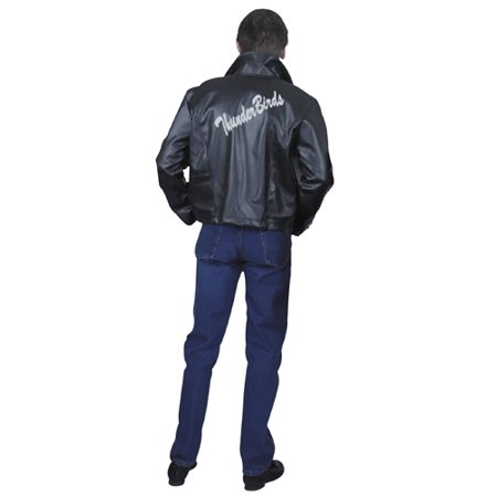 Grease Leather Jacket - Plus Size Mens Halloween Jacket - Guy In Black Coat In Halloween 5
