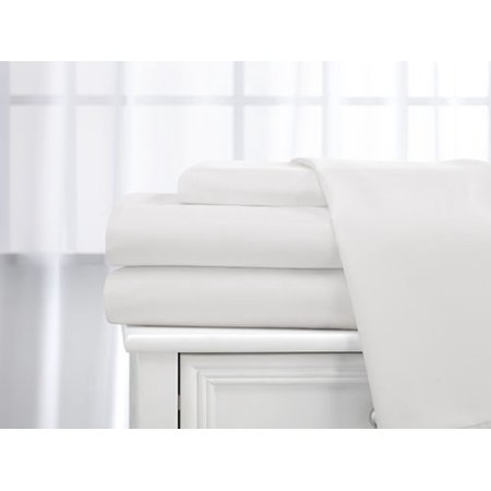 Cotton King Bed - Deluxe Home 100% Cotton  400 Thread Count Dobby Stripe Sheet Set ( King, White )
