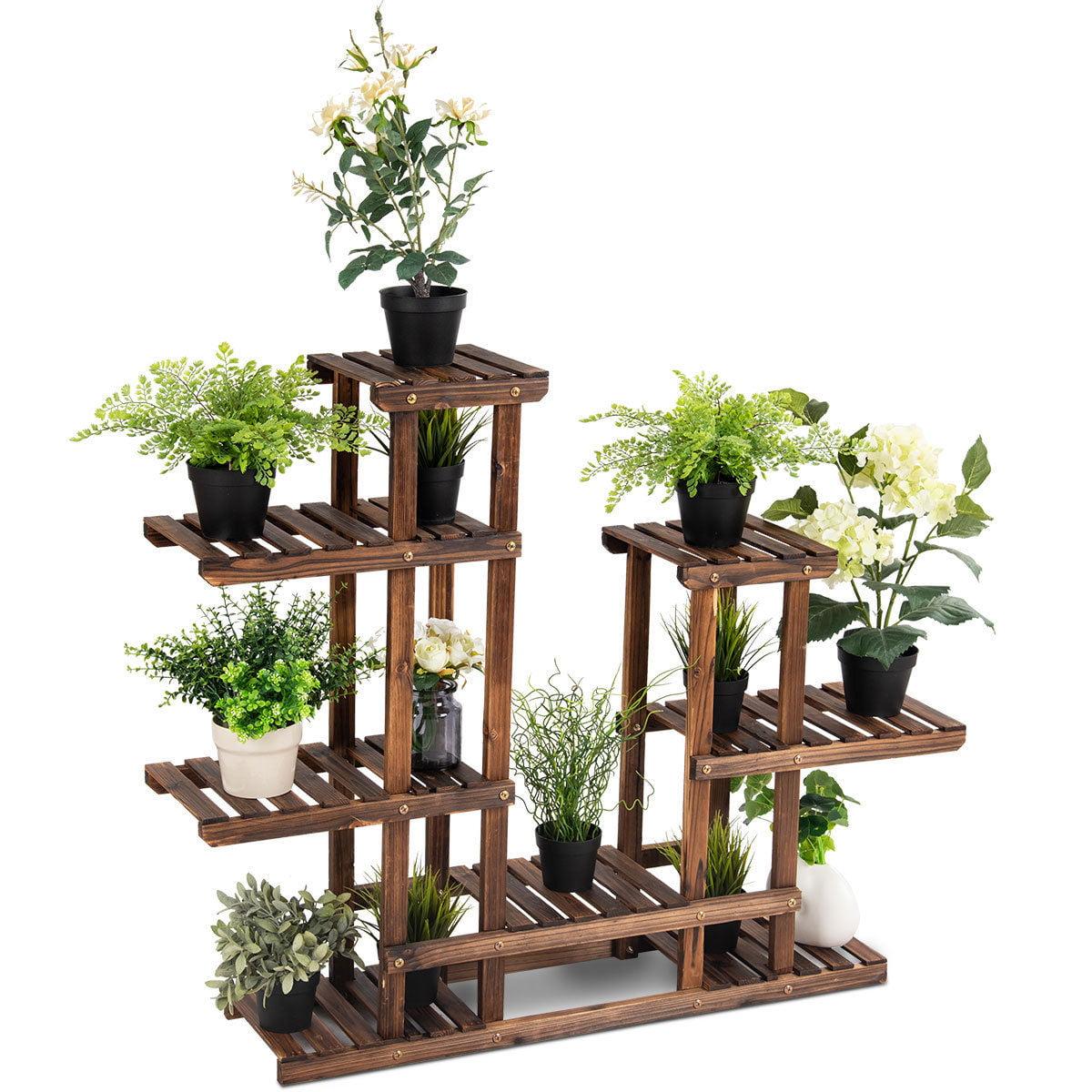 Costway 6Tier 13 Pots Wooden Plant Flower Display Stand Wood Shelf Storage Rack Garden
