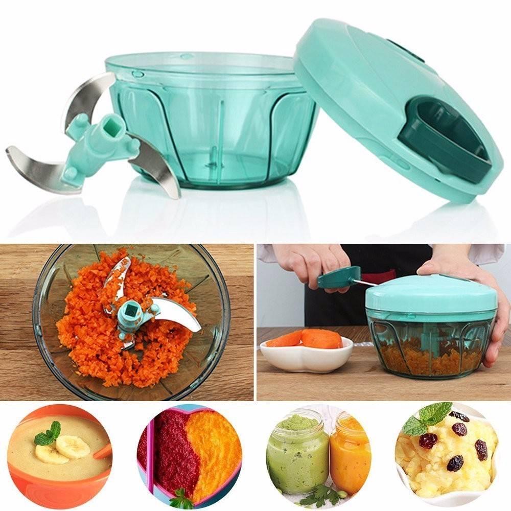 485ml Manual Food Chopper Meat Grinder Vegetable Slicer Shredder Grinder by