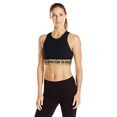 Zumba Womens Da Bass Bra Top, Back to black, Small by