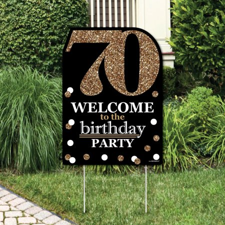 Adult 70th Birthday - Gold - Party Decorations - Birthday Party Welcome Yard Sign - 70th Decorations