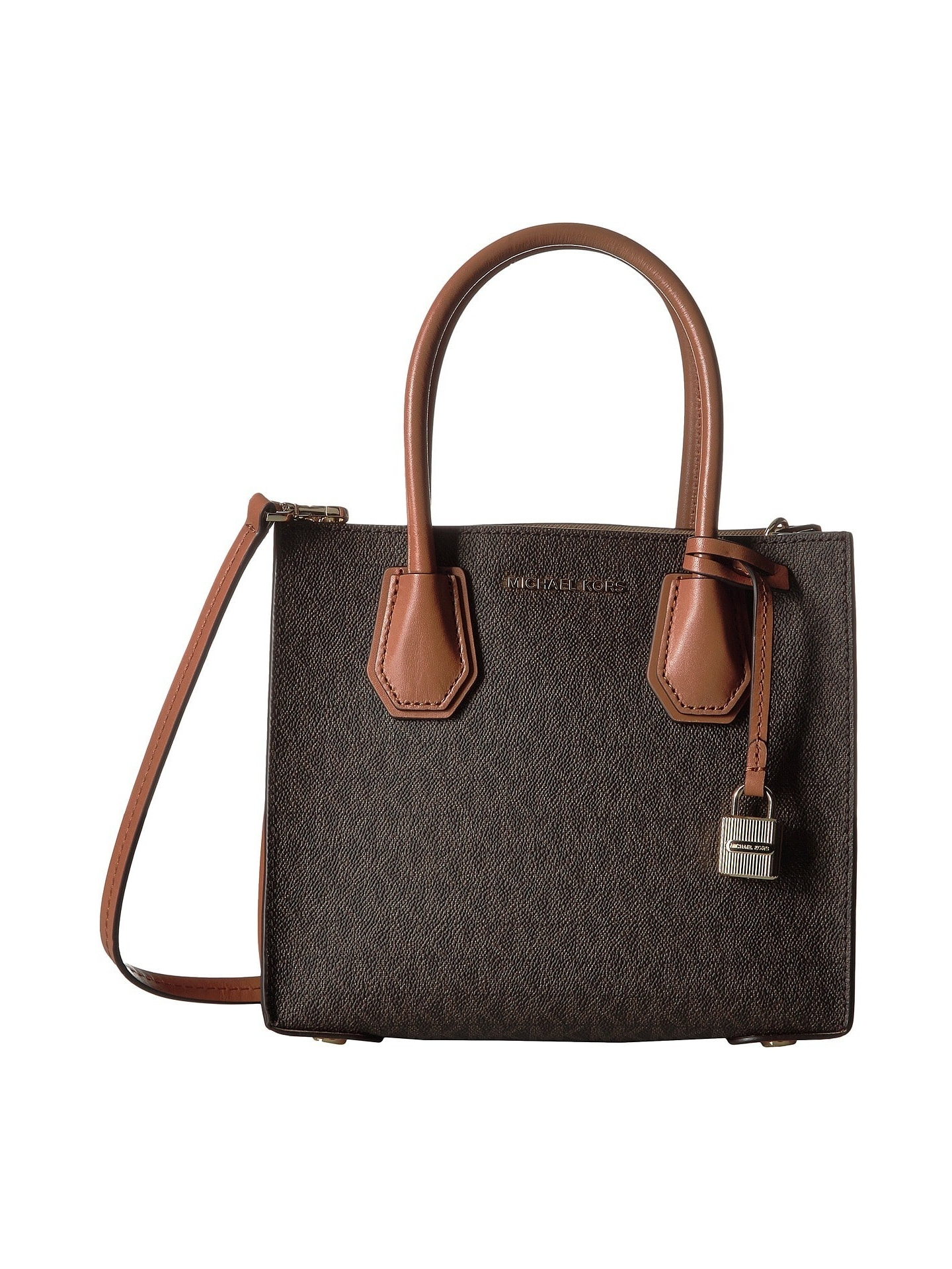 Michael Kors Studio Mercer Brown Signature Crossbody Handbag