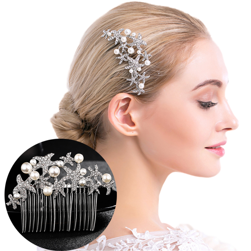 HiCoup Starfish Faux Pearl Rhinestone Tuck Comb Women Hair Clip Wedding Party Accessory