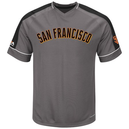"San Francisco Giants Majestic MLB ""Dominant"" V-Neck Mens Gray Fashion Jersey by"