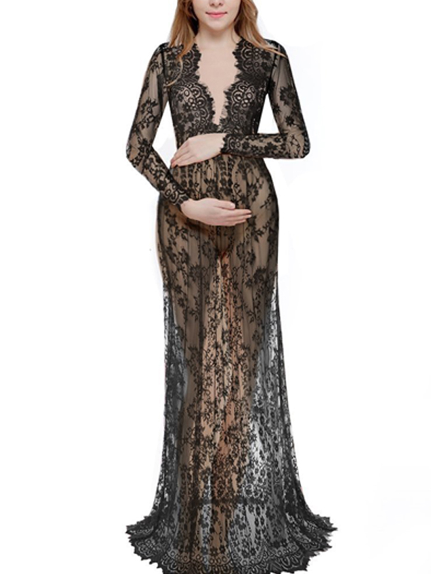 WODSTYLE LLC - Women Plus Size Lace Sheer Maternity Gown Maxi Dress -  Walmart.com