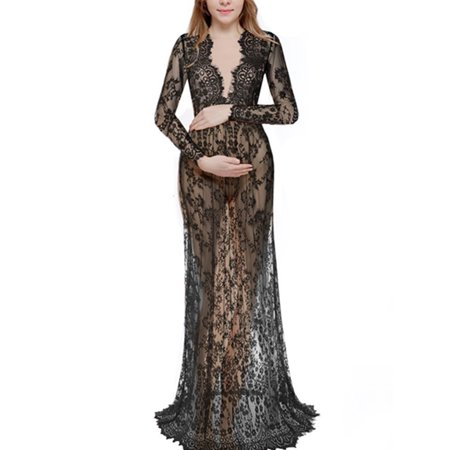 Women Plus Size Lace Sheer Maternity Gown Maxi Dress