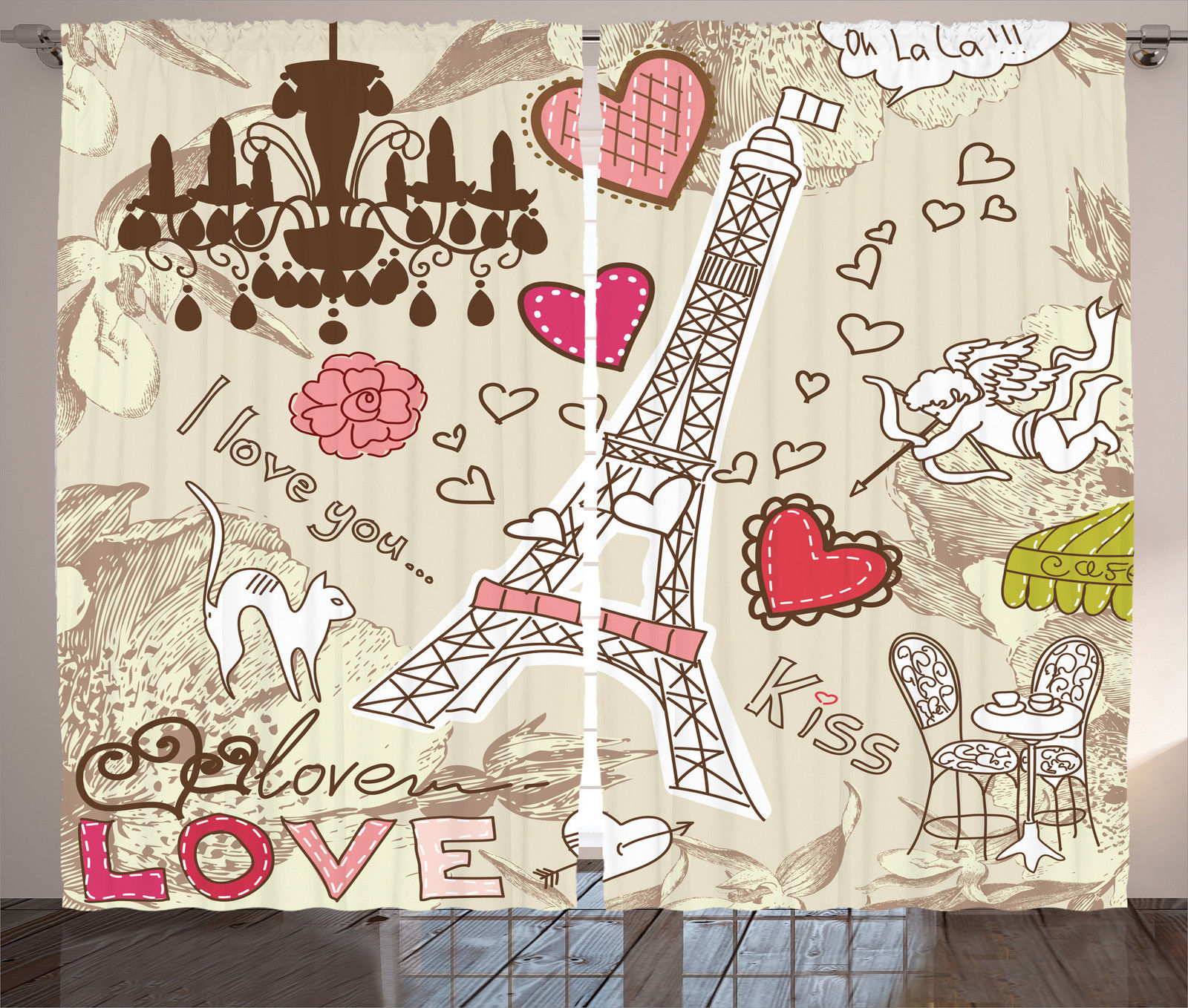 Paris Decor Curtains 2 Panels Set, Doodles Illustration Of Eiffel Tower  Hearts Chandelier Flower Love