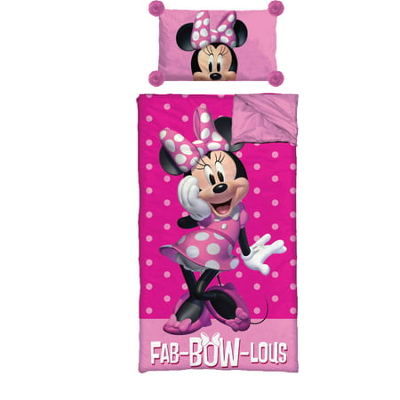 Disney Minnie Mouse Pom Pom Slumber Bag with BONUS Pillow