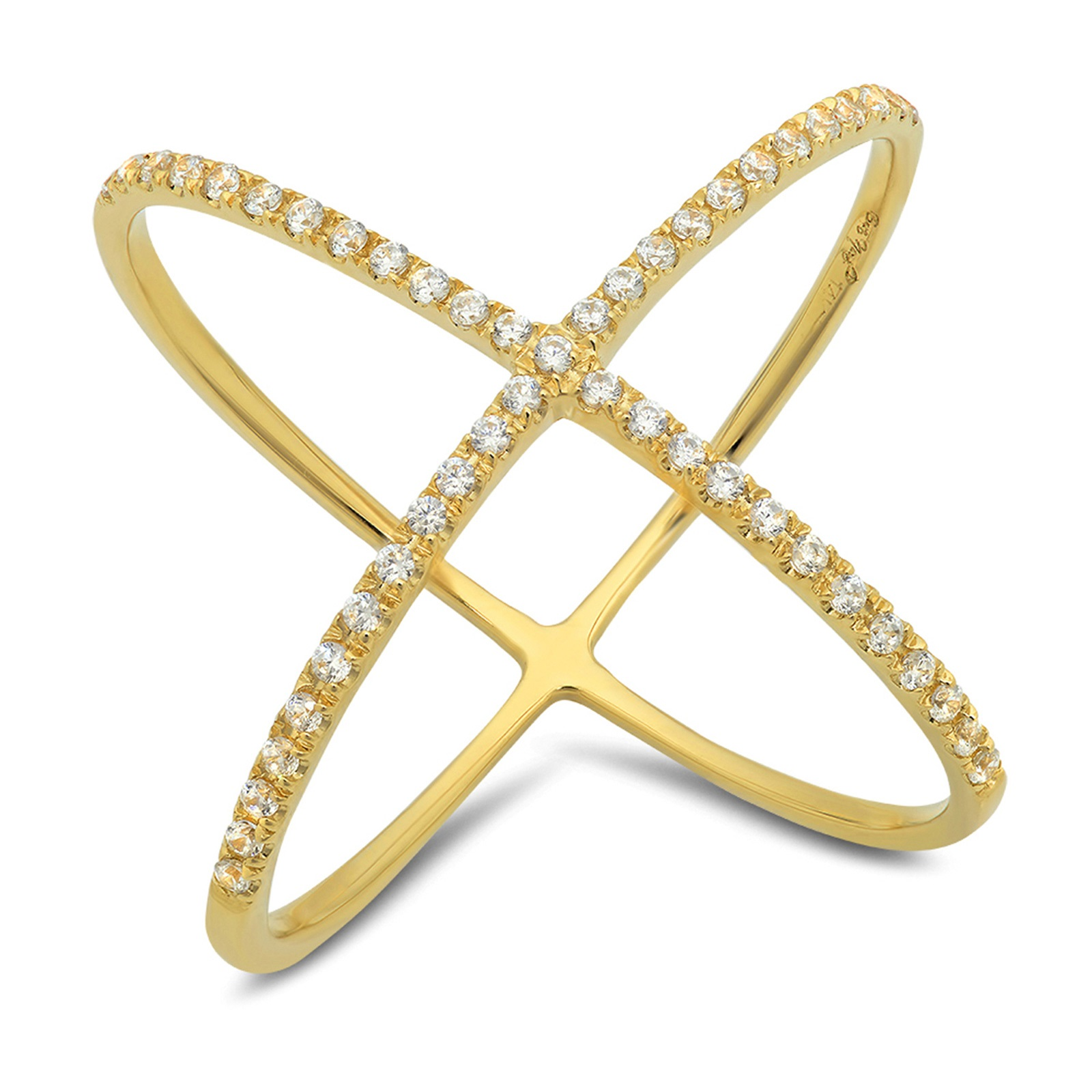 0.58 CT Round Cut Sim Diamond Pave Engagement Contemporary Cross Design Ring Band 14k Yellow Gold, Size 4.5