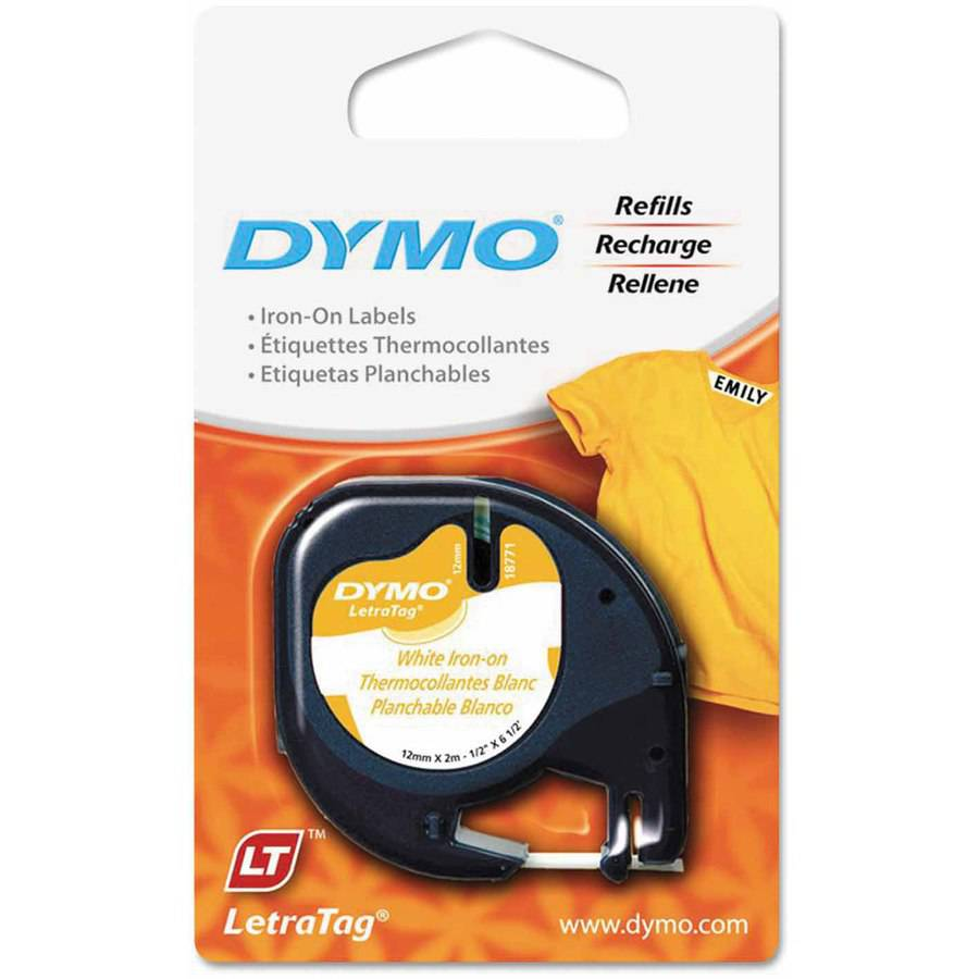 """DYMO LetraTag Fabric Iron-On Labels, 1/2"""" x 6-1/2', White"""