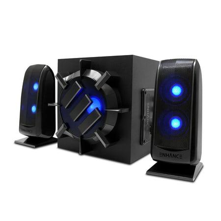 ENHANCE S21 Computer Speaker System - 2.1 Powered Subwoofer with 80W Peak, LED Satellite