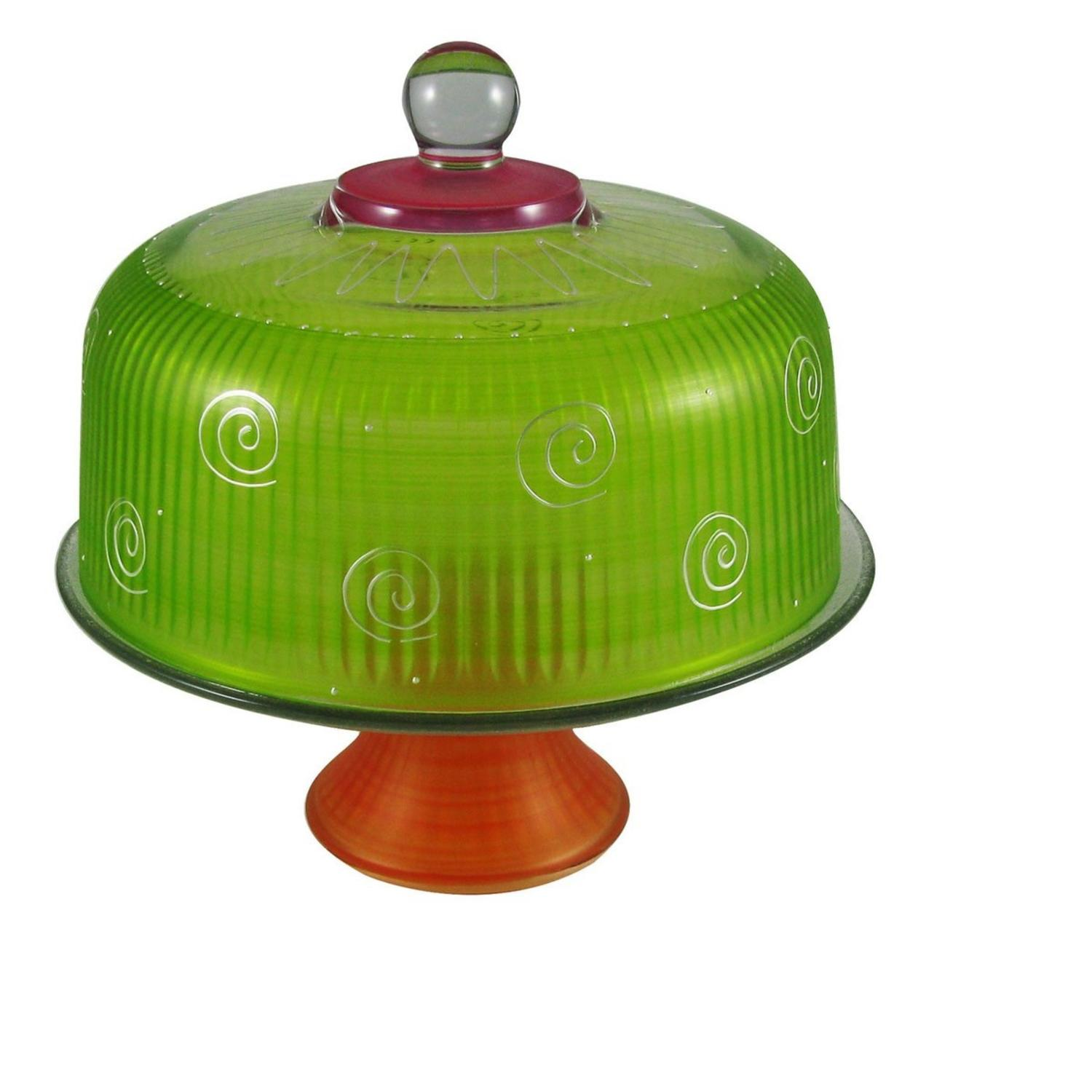 "11"" Frosted Lime Green and Marmalade Hand Painted Multi-Functional Glass Convertible Cake Dome"