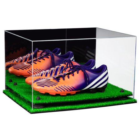Deluxe Acrylic Large Shoe Pair Display Case for Basketball Shoes Soccer Cleats Football Cleats with Mirror, Black Risers and Turf Base (A082-BR)