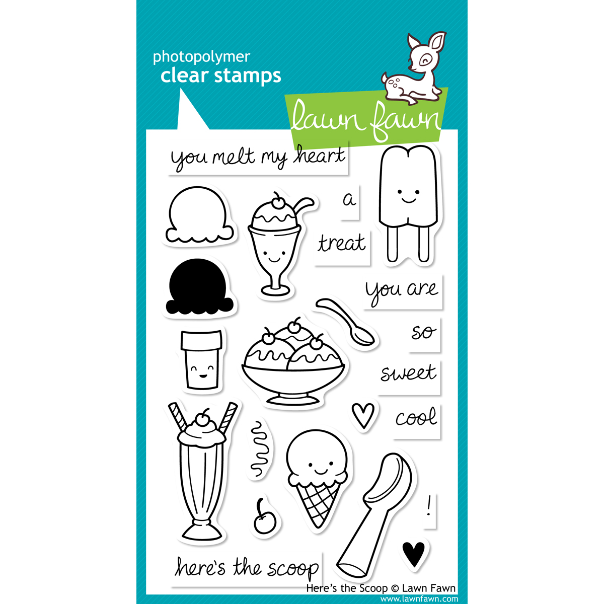 Lawn Fawn Clear Stamps-Heres The Scoop
