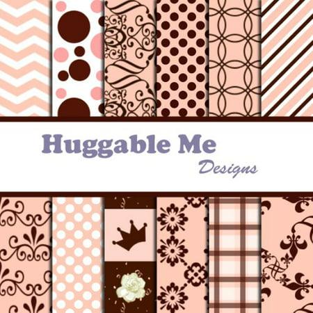 Girl Pink & Brown Scrapbook Paper on CD, 12 Designs of digital scrapbook paper on CD By Huggable Me Designs - Pink Scrapbook Paper
