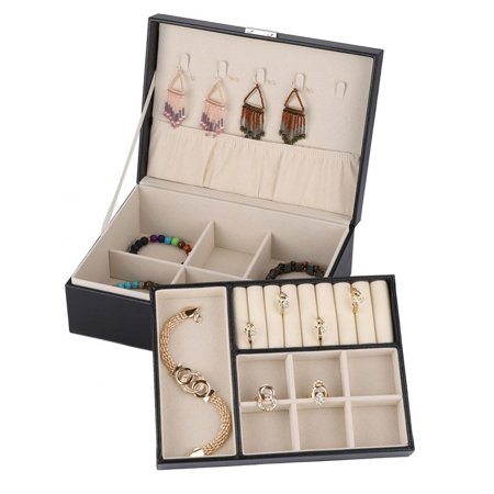 Double Layer Jewelry Earrings Rings Bracelet Necklace Box PU Organizer Storage ()