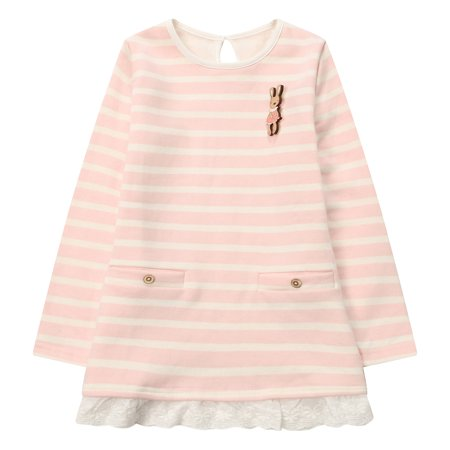 Richie House Girls' Sweet Striped Dress with Little Bear RH1218